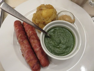 bacon wrapped cheese sausage and creamed spinach